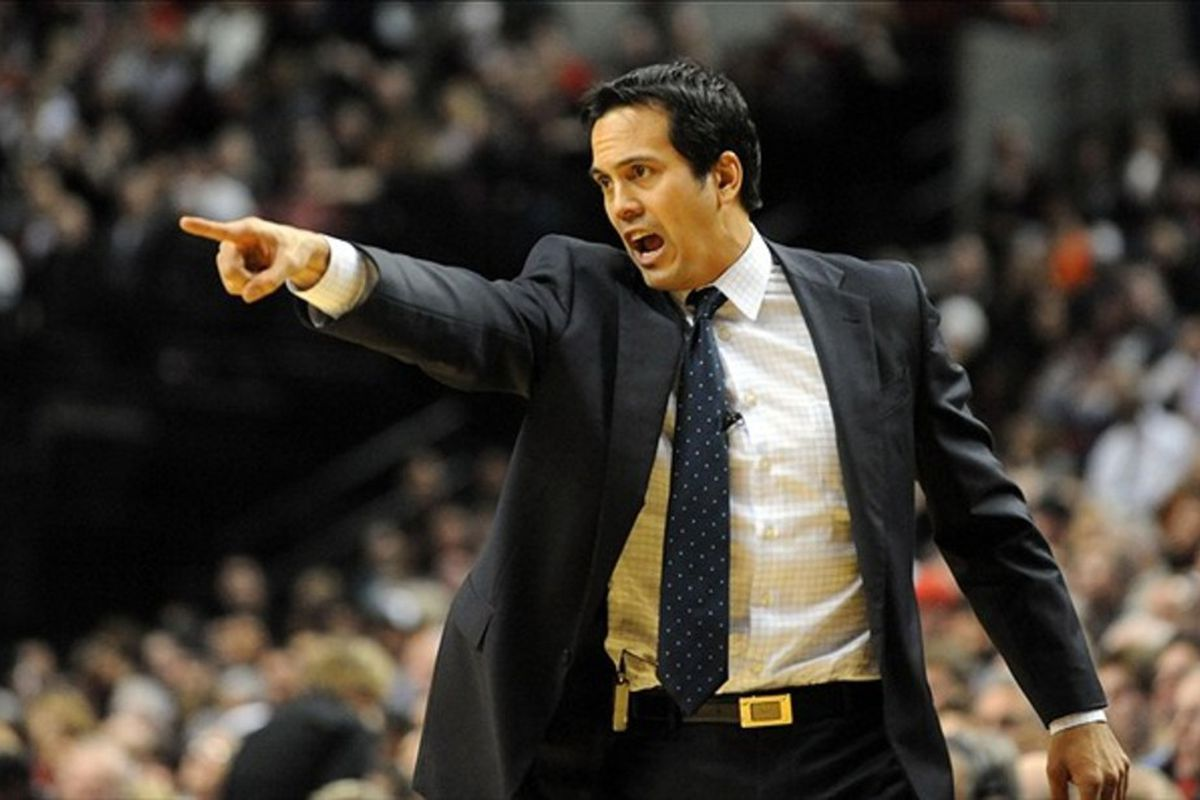 Mar. 1, 2012; Portland, OR, USA; Miami Heat head coach Erik Spoelstra yells out to his team during the second quarter of the game against the Portland Trail Blazers at the Rose Garden. Mandatory Credit: Steve Dykes-US PRESSWIRE