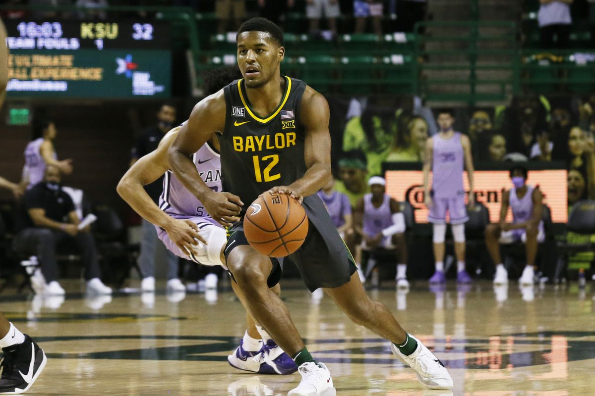 Baylor Bears guard Jared Butler runs the offense against the Kansas State Wildcats during the second half at Ferrell Center.