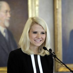 Elizabeth Smart speaks during The Family Support Center Blue Ribbon Breakfast in Salt Lake City  Wednesday, Sept. 14, 2011. The center assists child abuse prevention and treatment programs and homeless assistance.