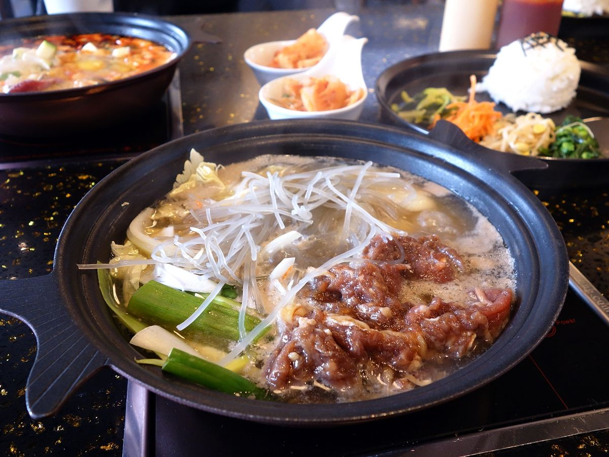 A steaming bowl of bulgogi stew at One Pot Stew.