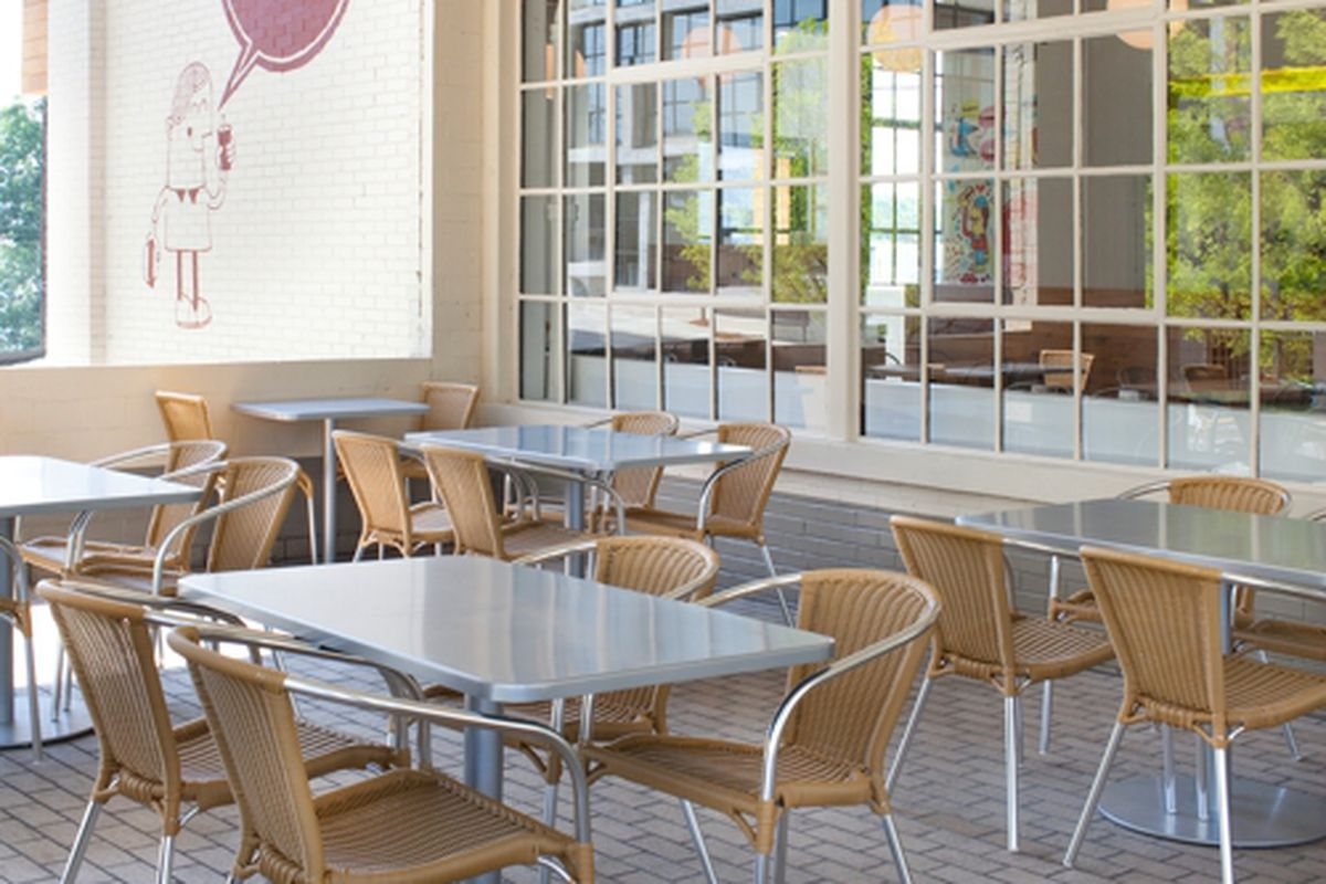 The patio at YEAH! Burger, Westside.