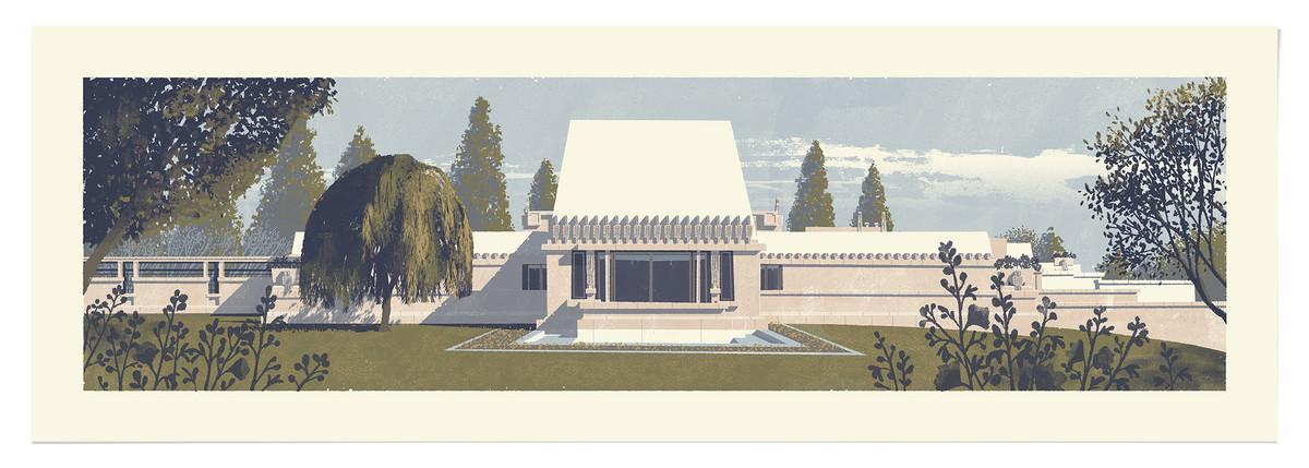 An illustration of Frank Lloyd Wright's Hollyhock House by Chris Turnham.