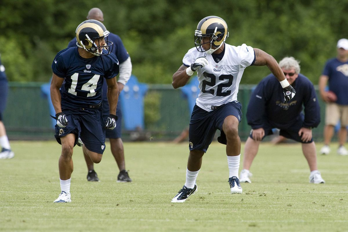 May 11, 2012; St. Louis, MO, USA; St. Louis Rams wide receiver Nick Johnson (14) runs as cornerback Trumaine Johnson (22) defends during mini camp at ContinuityX Training Center. Mandatory Credit: Jeff Curry-US PRESSWIRE