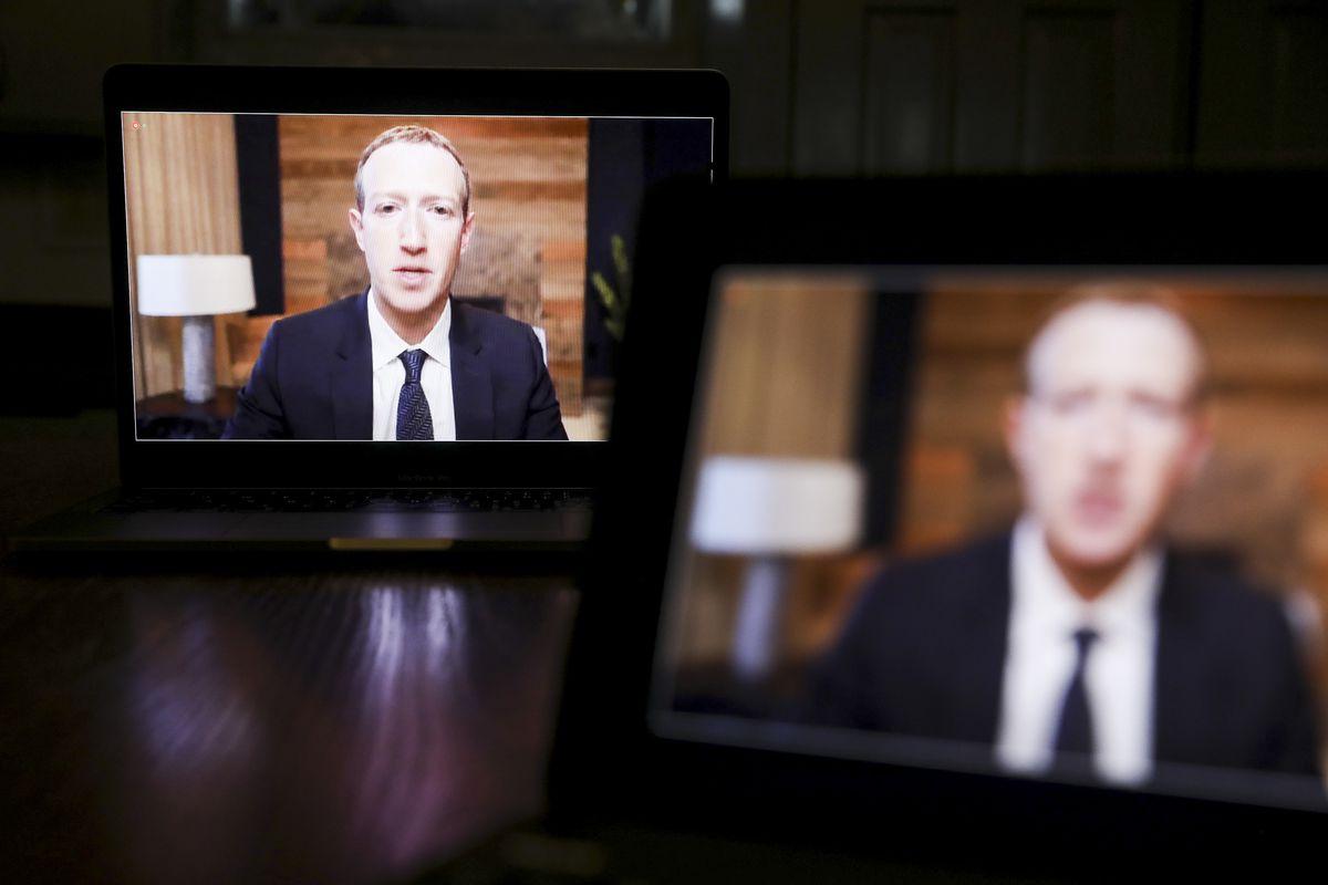 Mark Zuckerberg speaks virtually on camera during a congressional hearing.