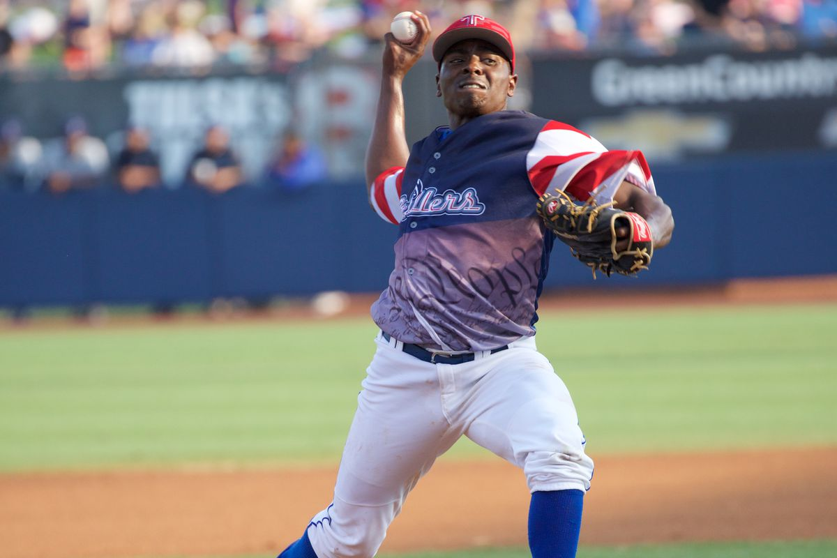 Jharel Cotton, seen here earlier in 2015 pitching for Double-A Tulsa, struck out six in three scoreless innings this week in the Arizona Fall League.