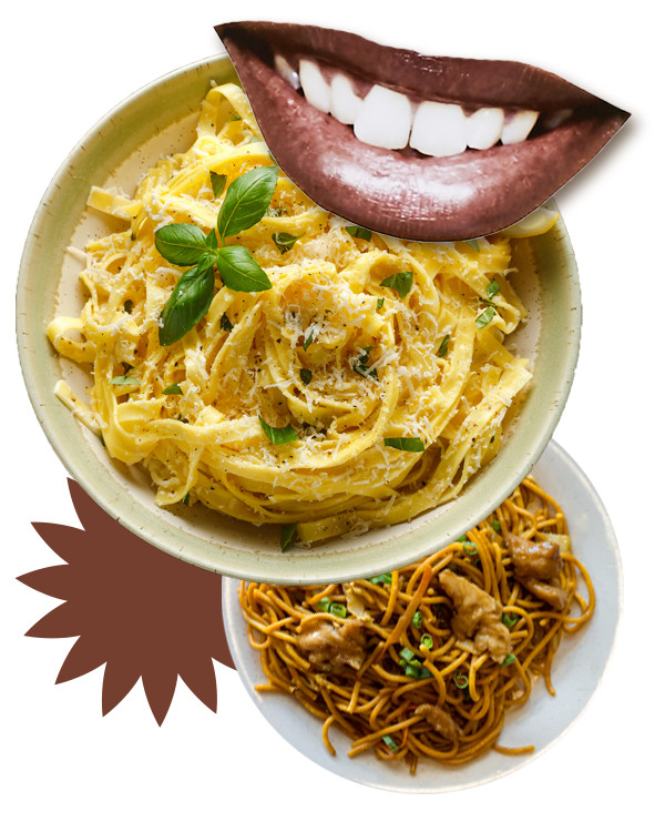 Photo collage of a mouth, a plate of spaghetti, and a plate of lo mein.
