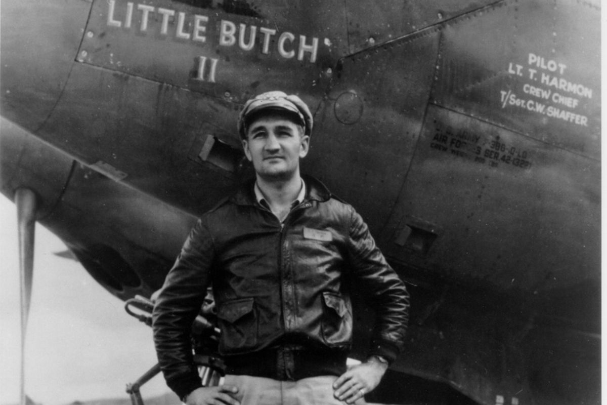 Michigan Heisman winner and winner of the Purple Heart and Silver Star. He had part of the silk parachute he used to bail out of a plane over Japanese-occupied China made into his wife's wedding dress. He was a badass mother.