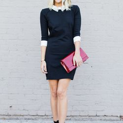 """Jacey of <a href=""""http://damselindior.com""""target=""""_blank"""">Damsel in Dior</a> is wearing a Ted Baker dress and <a href=""""http://www.tedbaker.com/us/Womens/Shoes/SACKINA-Ankle-tie-heel-Black/p/114817-00-BLACK?cmpid=pr_digital_ceaw14_0-0-damselindior-us-w-0-0"""