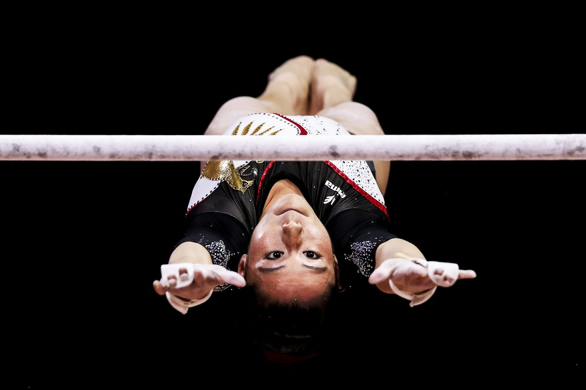 August 5: Kim Bui of Germany competes during the Uneven Bars Final on day four of the European Championships in Glasgow, Scotland. Read More.  (Naomi Baker/Getty Images)