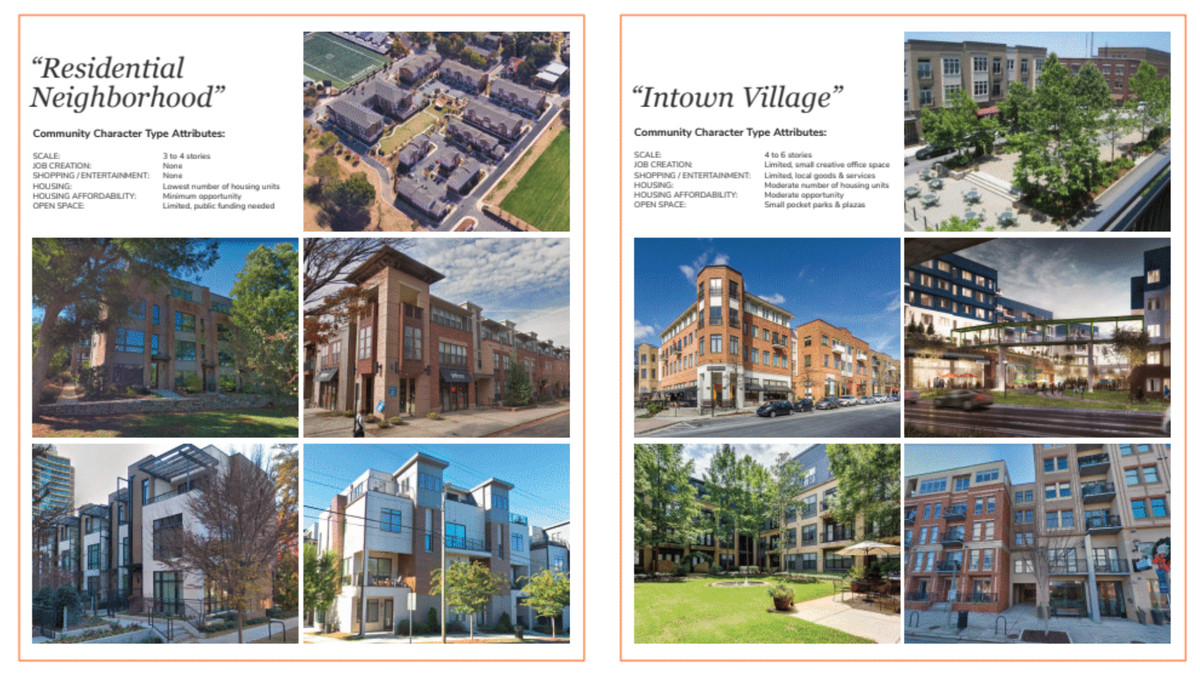 """Diagrams show examples of """"residential neighborhood"""" and """"intown village"""" plans."""