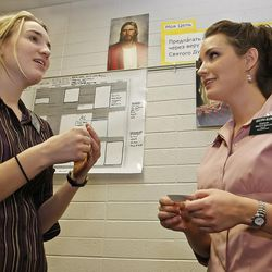 Sister Erica Glenn, right, and sister Noel Ellison, left, practice the Russian language at the Mormon Missionary Training Center in Provo, Utah Thursday January 31, 2008.