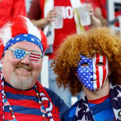 June 18, 2019 - Saint Paul, Minnesota, United States - USA fans pose for a photo prior to the USA vs Guyana match at Allianz Field.