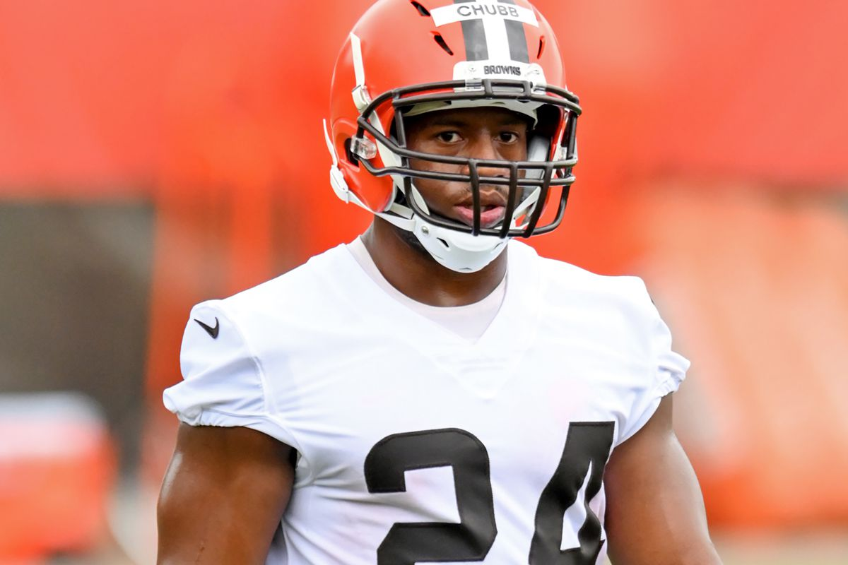 Running back Nick Chubb #24 of the Cleveland Browns looks on during the second day of Cleveland Browns Training Camp on July 29, 2021 in Berea, Ohio.