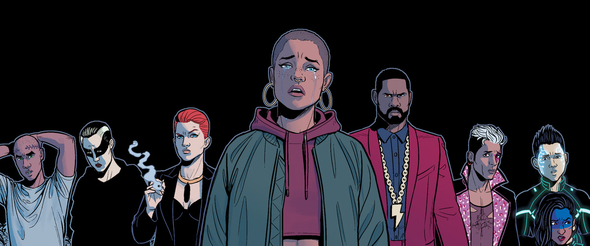 The gods of The Wicked + The Divine stand in a line, all looking some kind of sad, frustrated, or unhappy, in The Wicked + The Divine, Image Comics.