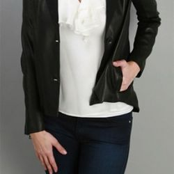 Leather Blazer with Draped Back, Doo.Ri, $1,395<br />This stunning black leather jacket by Doo.Ri is unlike anything you've ever seen! Known for their elegant draping, Doo.Ri always manages to surprise us with their innovative silhouettes. This leather ja