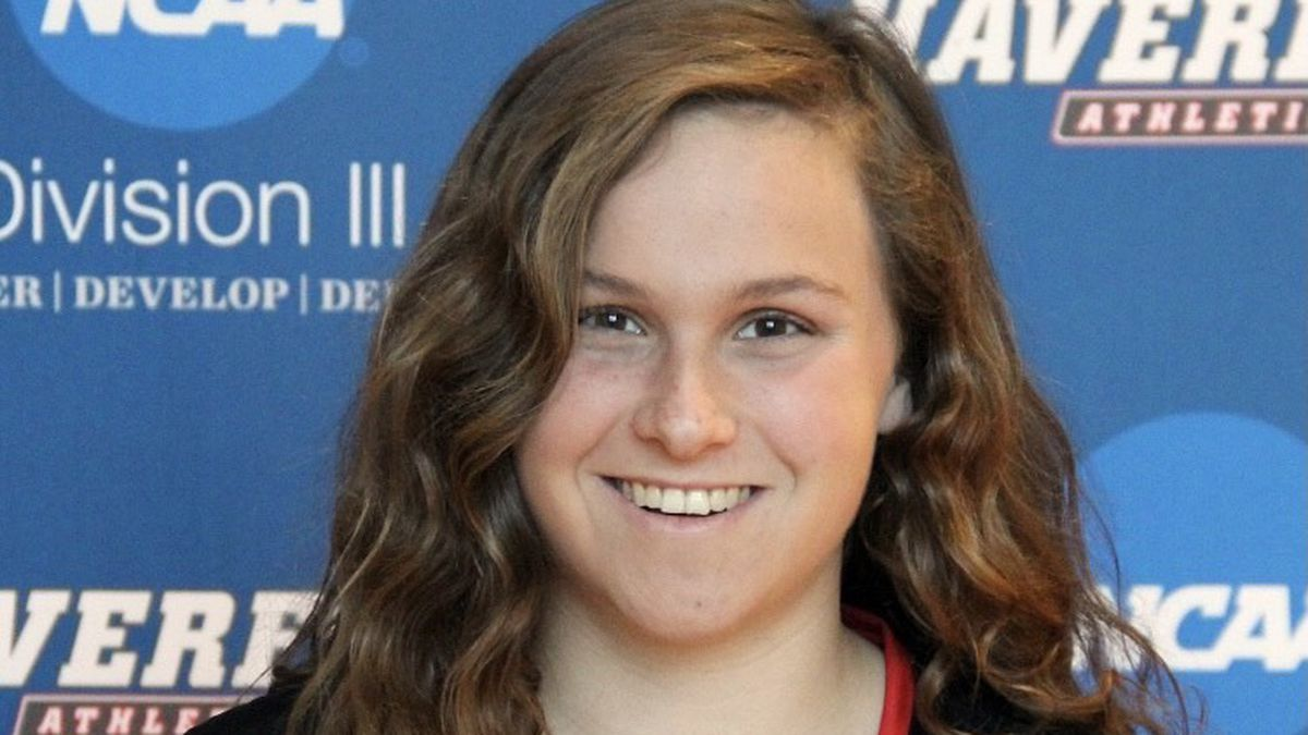 Sarah Cahn plays goalie on Haverford College's lacrosse team.