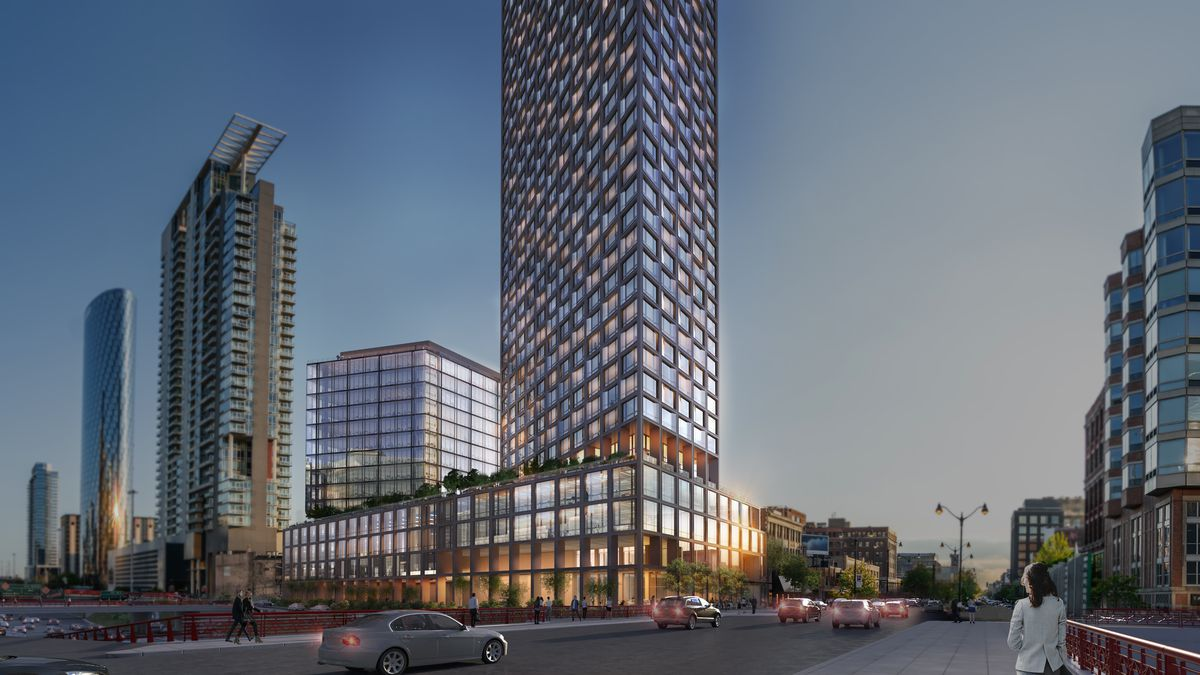 A ground-level rendering of the a high-rise and mid-rise tower atop a shared base.