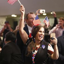 Lisa Shepherd reacts to additional electoral votes reported for Donald Trump at an election night party in Salt Lake City on Nov 8, 2016.
