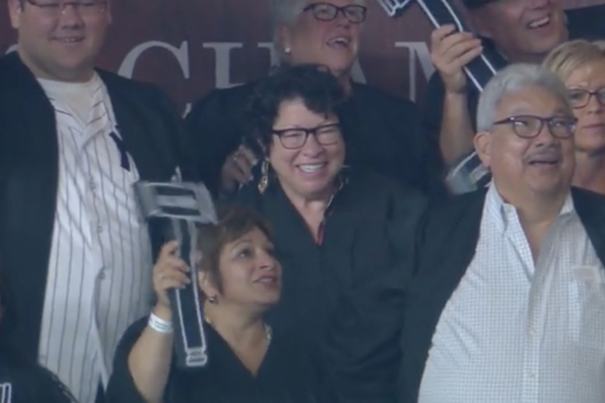 Justice Sotomayor visits 'Judge's Chambers' at Yankees game