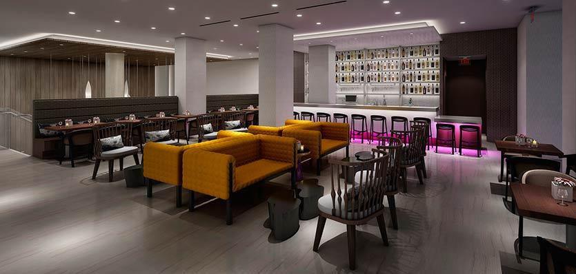 Melia Hotel lobby and bar rendering
