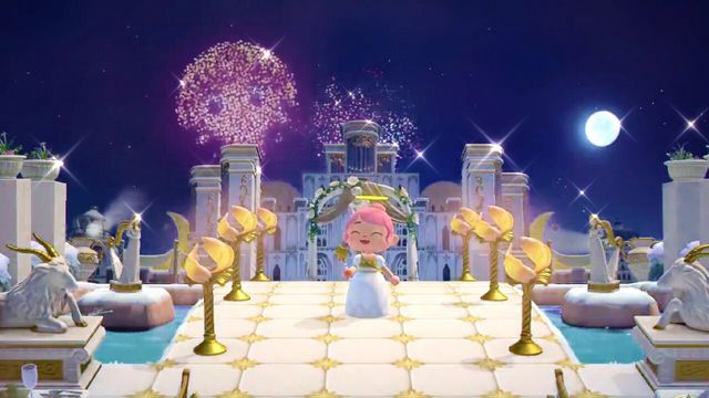 An Animal Crossing villager enjoys a fireworks show of Sailor Moon.