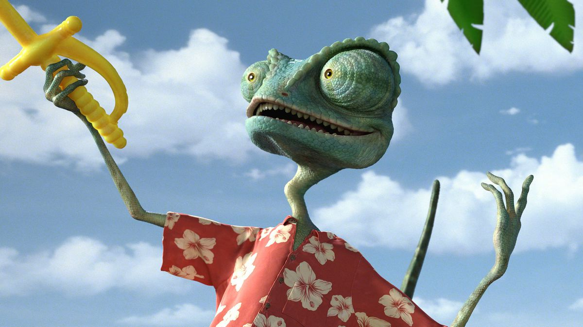 The animated chameleon Rango brandishes a yellow plastic cocktail sword in Rango