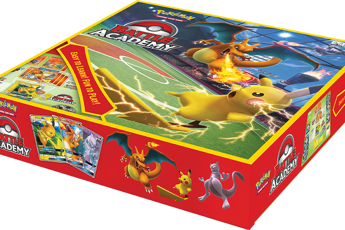 The box for Pokémon TCG Battle Academy, which is red and features a Pikachu and Charizard battling