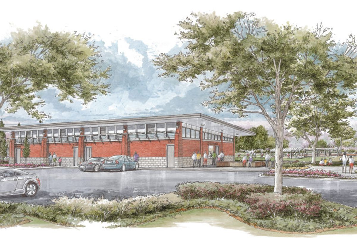 A hand rendering of a brick building with glass clerestory windows and a flat cantilevered roof.