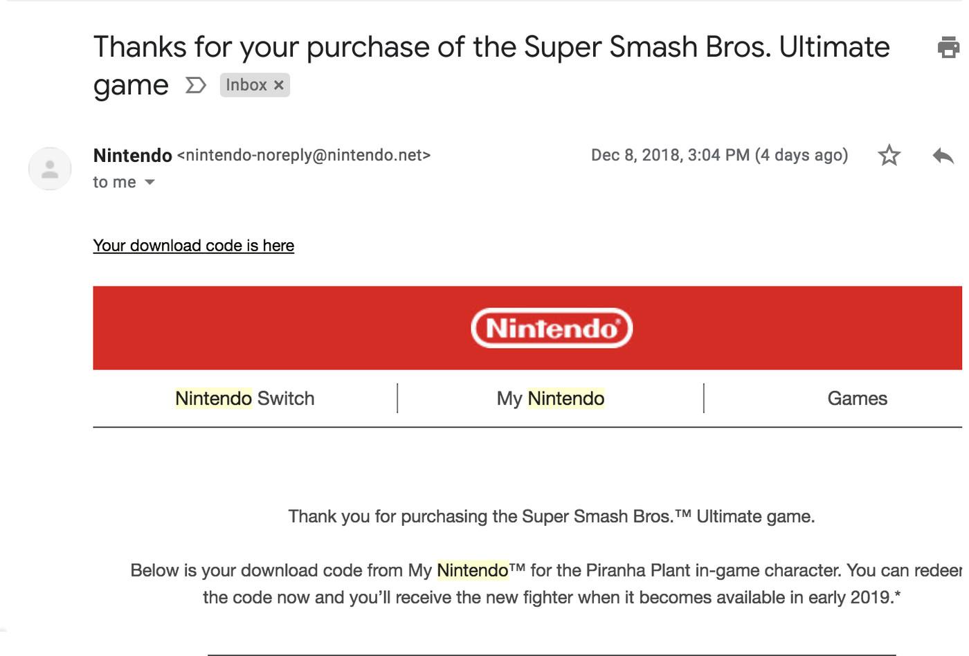 free super smash bros ultimate download code