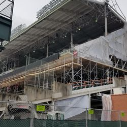 Wider view of left field upper and lower deck work