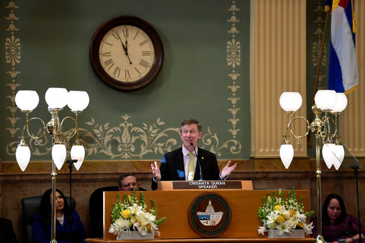 Gov. John Hickenlooper delivers the Colorado State of the State address in January 2018.