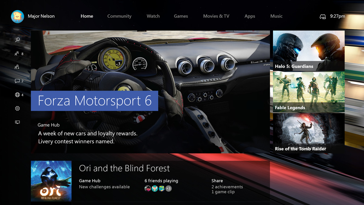 Xbox One dashboard Windows 10