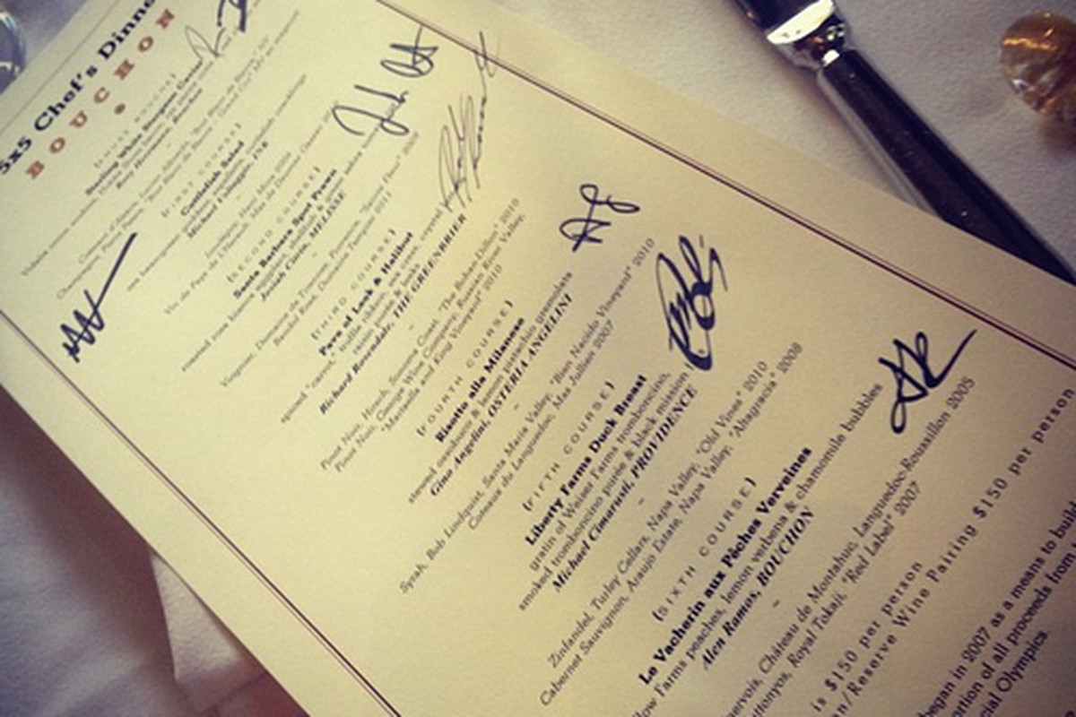 Menu from last night's 5x5 dinner at Bouchon, Beverly Hills.