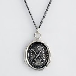 Sterling silver symbolic Talisman necklace, $158