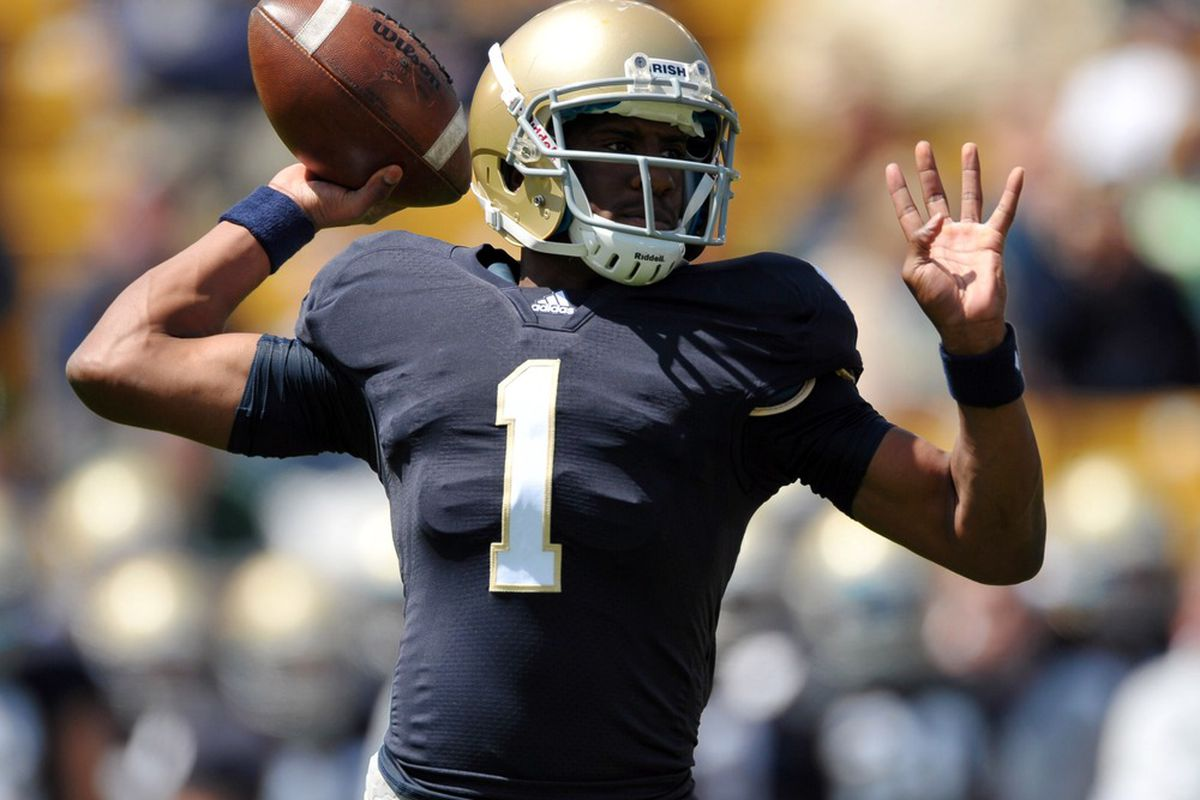 Apr. 21, 2012; South Bend, IN, USA; Notre Dame Fighting Irish quarterback Everett Golson (1) throws in the first quarter of the spring game at Notre Dame Stadium. Mandatory Credit: Matt Cashore-US PRESSWIRE