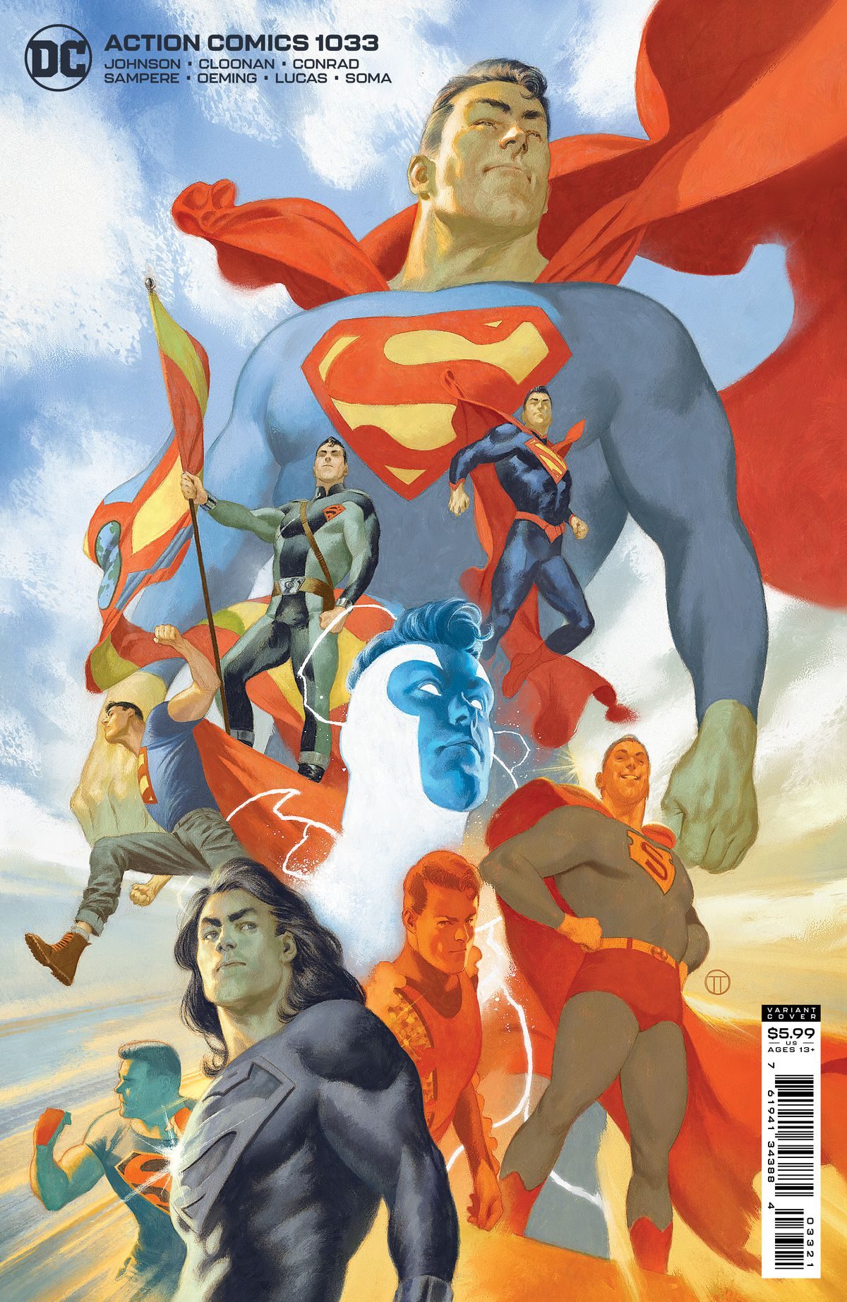 A collage of different versions of Superman, including Grant Morrison's young New 52 Superman, modern Superman, resurrected long-haired Superman, Golden Age superman, Blue Superman, and more on the cover of Action Comics #1033, DC Comics (2021).