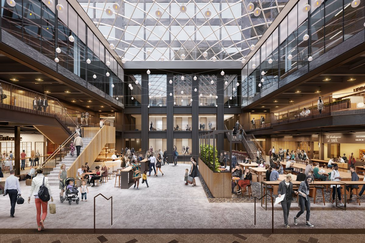 A Rendering Of The Willis Tower Food Hall Eq Office Gensler Official