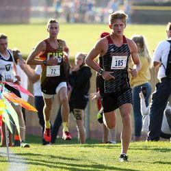 Joshua Armstrong of Hurricane High School leads during the race and is the winner of the 4A state boys high school cross-country championship in Cedar City on Wednesday, Oct. 21, 2020.