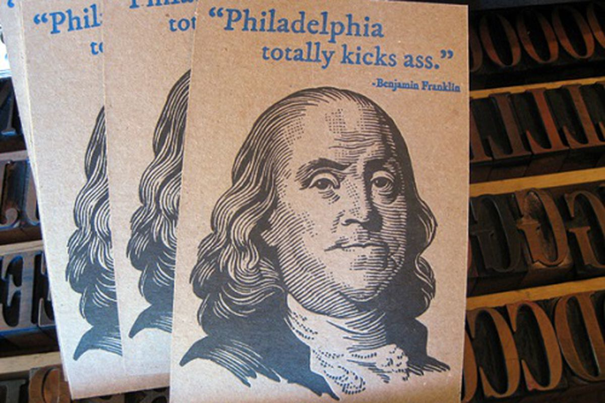 "Image credit: <a href=""http://blackheartletterpress.com/product/ben-franklin-philadelphia-postcardprint/"">Black Heart Letterpress</a>"