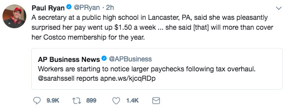 Paul Ryan's tweet about a worker who got a $1.50 per week pay raise thanks to the tax bill.