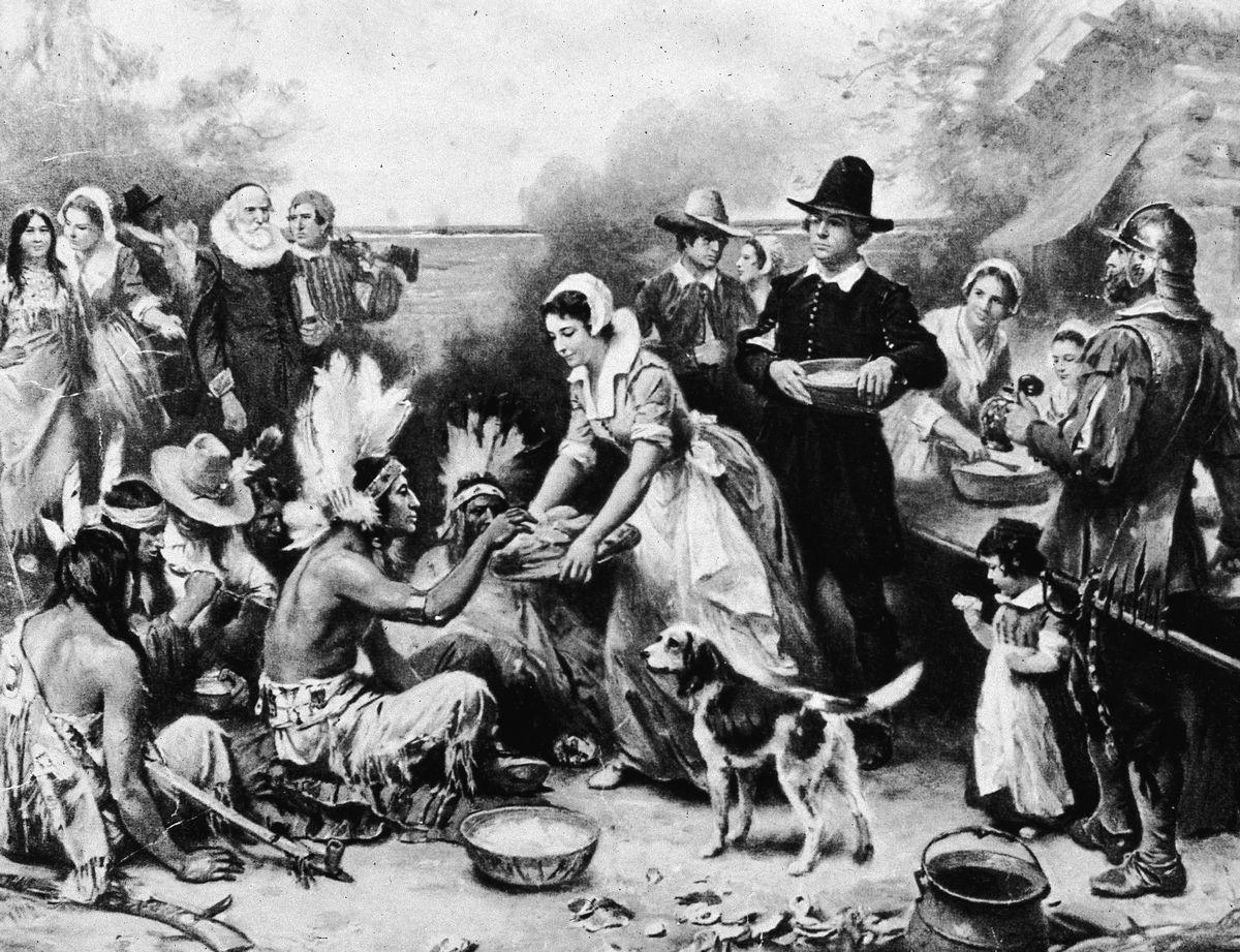 First Thanksgiving Dinner Illustration