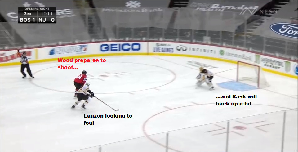 Part 11: Rask correctly comes out to cut down the angle.  Wood also correctly prepares to shoot.  Lauzon understandably is looking to foul Wood to deny said shot.