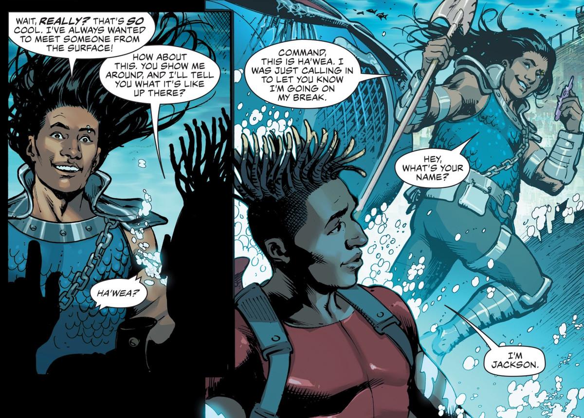 Xebelian guard Ha'wea introduces himself to Aqualad in Aquaman #62, DC Comics (2020).