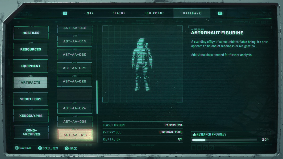 The in-game description for the astronaut figure in Returnal