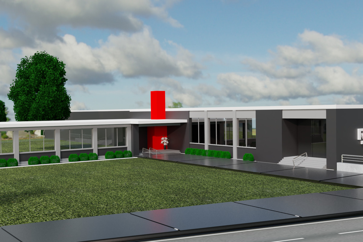 Rendering of gray building with covered sidewalks and red column.