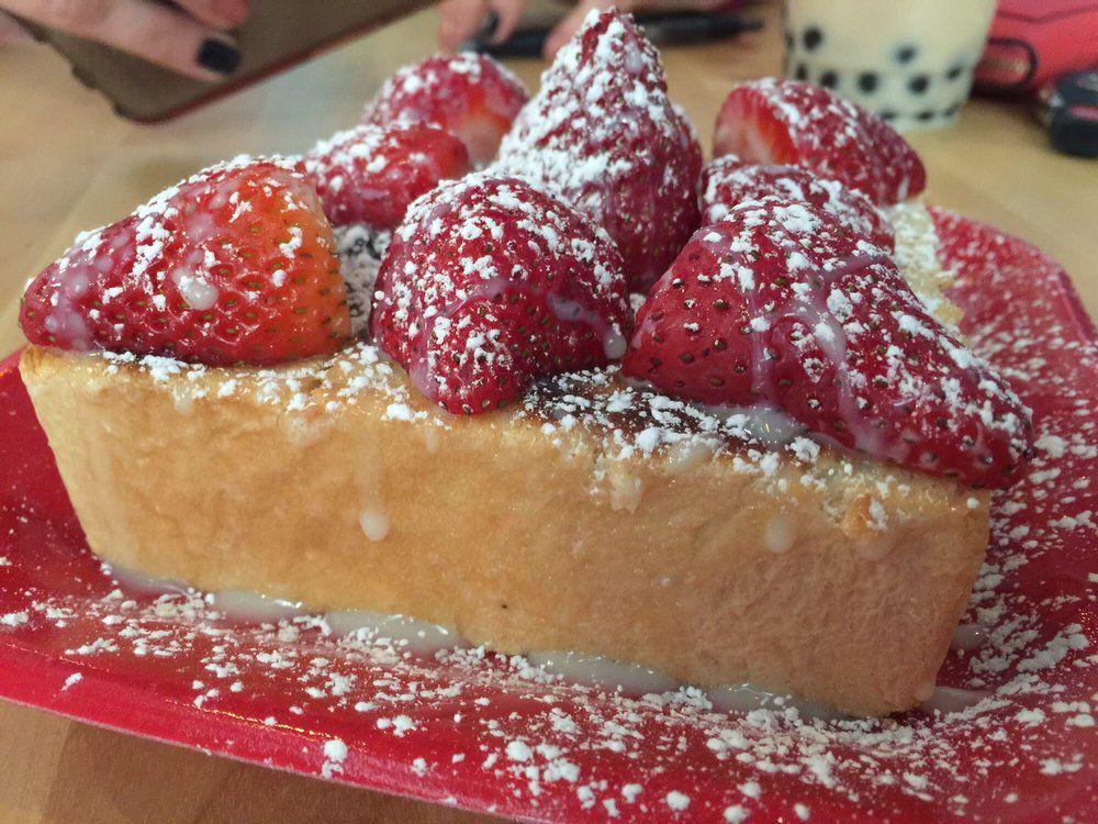 The strawberry brick toast at Tea Haus