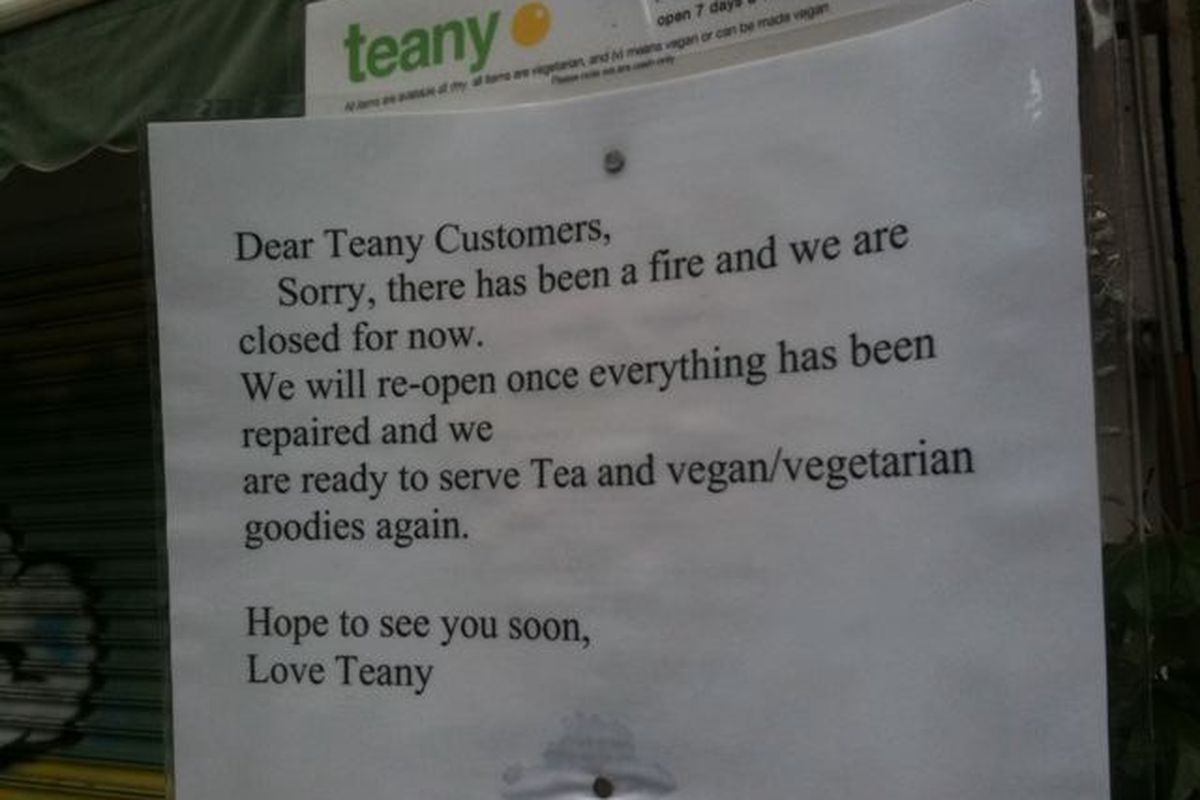 Teany 'Closed for Fire' Signage