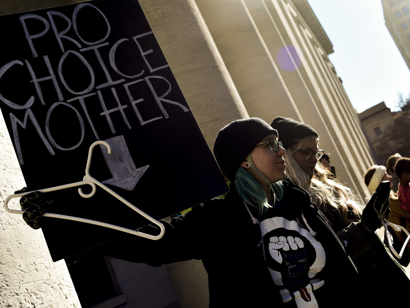 "Protesters oppose an Ohio anti-abortion ""heartbeat"" bill on December 12, 2018, in Columbus, Ohio."