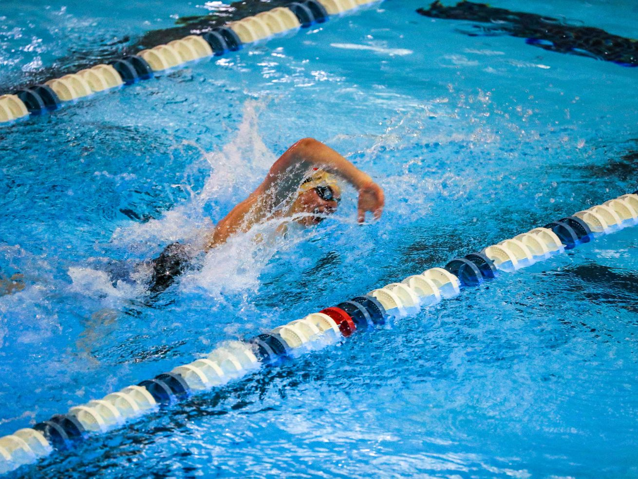 Judge's Buddy Yanelli swims his way to a win in heat 2 of the 200 yard IM at the 3A men's swimming state meet at the South Davis Recreation Center in Bountiful on Saturday, Feb. 13, 2021.