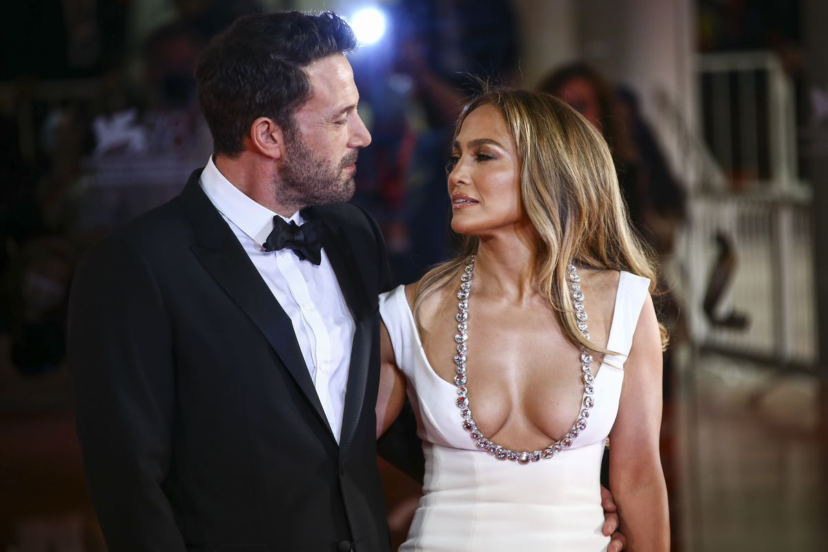 Jennifer Lopez and Ben Affleck pose for photographers upon arrival Friday at the premiere of the film 'The Last Duel' during the 78th edition of the Venice Film Festival in Venice, Italy.